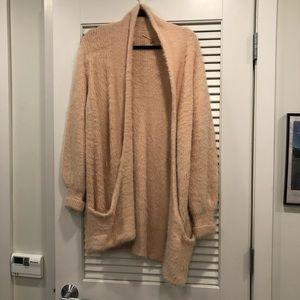Anthropologie Fuzzy Light Pink Sweater